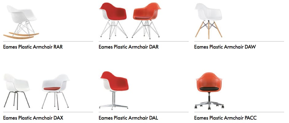 Vitra Eames Plastic Chair Armchair Versionen