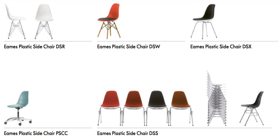 Vitra Eames Plastic Chair Side Chair uitvoeringen